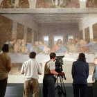 TV Crew with Leonardo's Last Supper, Milan, Italy