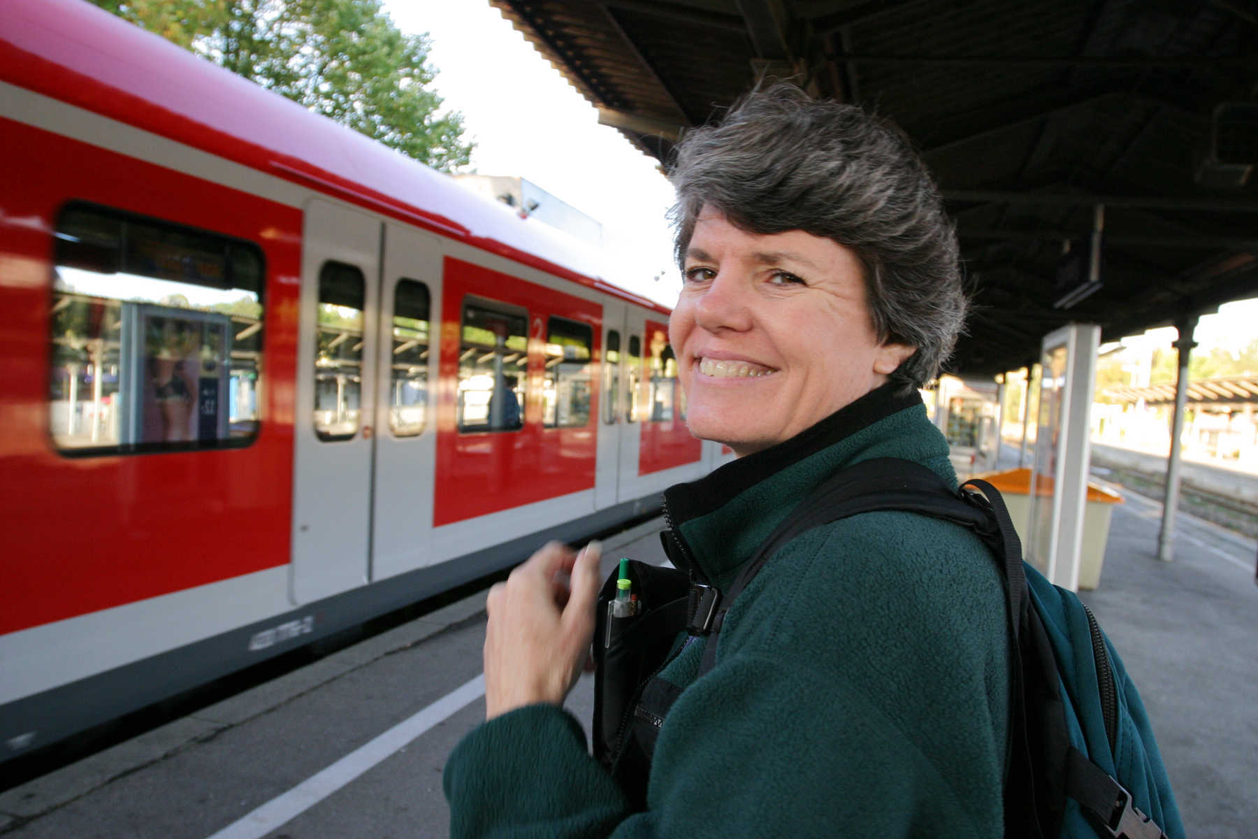 Woman Traveler in Train Station