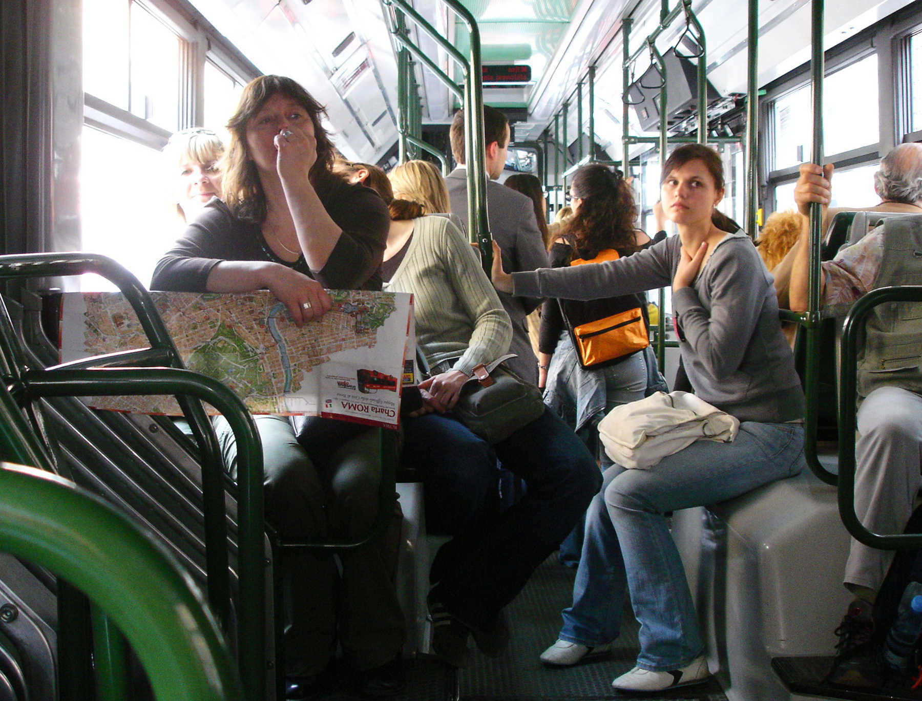 Bus Riders Vulnerable to Pickpockets, Rome, Italy