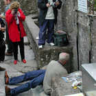 Tourists at Blarney Stone, Blarney Castle, Ireland