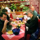 Mussel Eaters at Restaurant, Brussels, Belgium