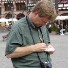 Rick Researching, Frankfurt, Germany