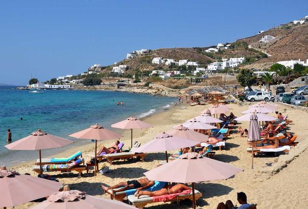 Sunbathers on Beach, Mykonos, Greece