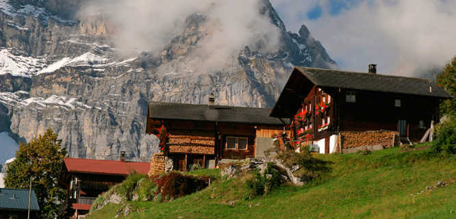Houses in Gimmelwald, Berner Oberland, Switzerland