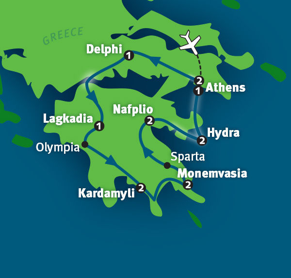 Rick Steves Greece Tour: Itinerary Map